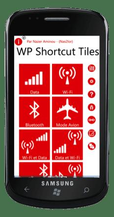 Capture d'écran - Shortcut Tiles, application Windows Phone 7