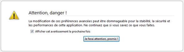 Capture d'écran - Message d'avertissement de Firefox