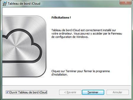 Capture d'écran - Installation de iCloud pour PC, étape n°4