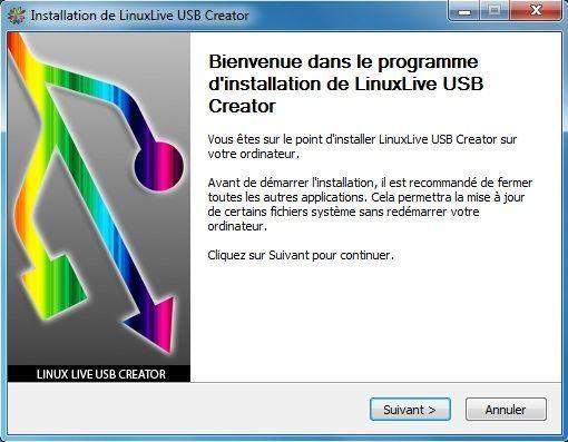 Capture d'écran - Installation de Linux Live USB Creator, étape n°1