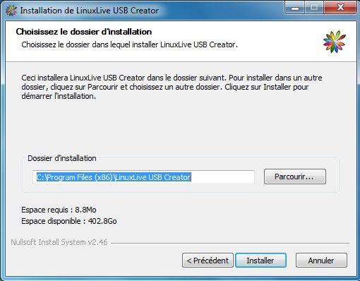 Capture d'écran - Installation de Linux Live USB Creator, étape n°2