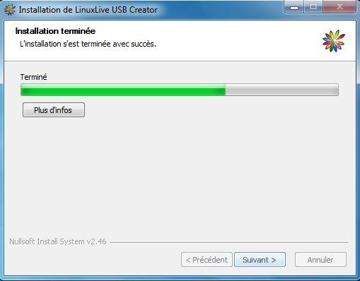 Capture d'écran - Installation de Linux Live USB Creator, étape n°3