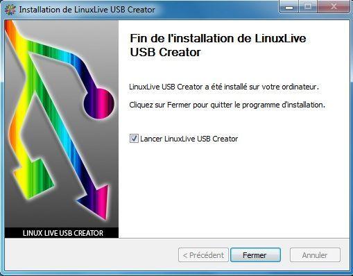 Capture d'écran - Installation de Linux Live USB Creator, étape n°4