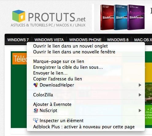 Capture d'écran - Menu contextuel de Firefox activé par un clic-gauche maintenu