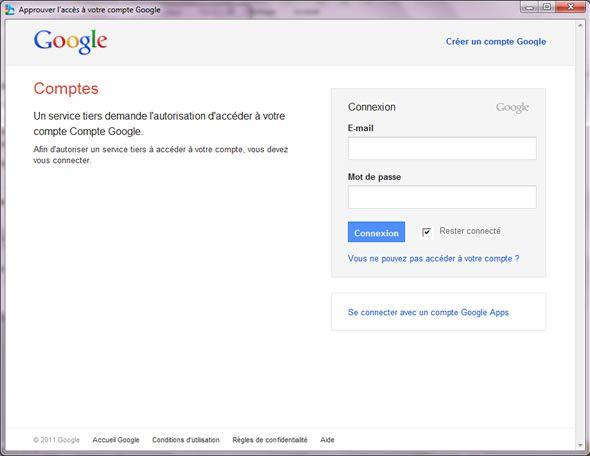Capture d'écran - Google Cloud Connect dans Office 2010, connexion à votre compte Google
