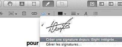 Capture d'écran - Création d'une signature numérique avec iSight