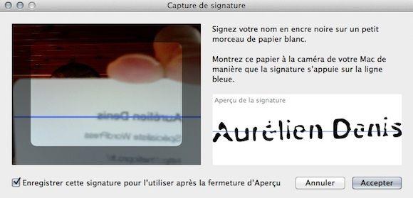 Capture d'écran - Création de la signature avec iSight