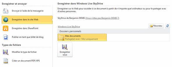 Capture d'écran - Vos fichiers et dossiers Skydrive dans Office 2010