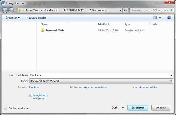 Capture d'écran - Fenêtre de sauvegarde d'un document vers Skydrive