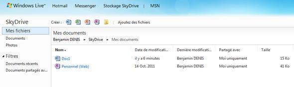 Capture d'écran - Stockage Skydrive en ligne