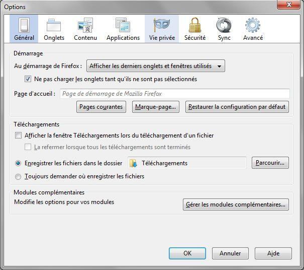 Capture d'écran - Options générales de configuration de Firefox 8