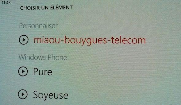 Catpure d'écran - Ecran Choix de la sonnerie sous Windows Phone 7.5