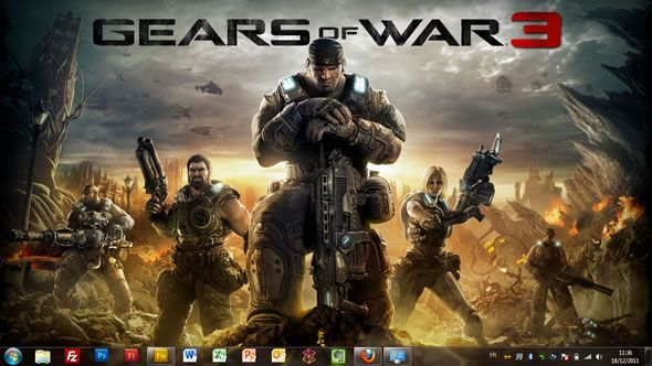 Capture d'écran - Sortie de Gears of War 3, thème visuel officiel Windows 7