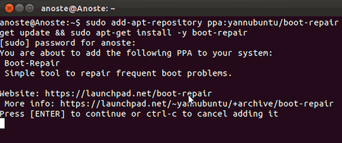Capture d'écran - Installation de Boot Repair sous Ubuntu