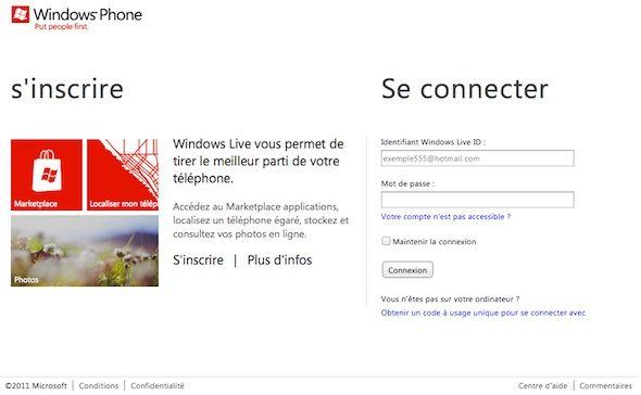 Capture d'écran - Connexion au site WindowsPhone.com