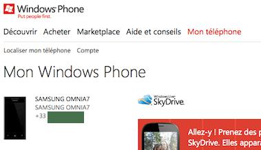 Capture d'écran - Page Mon téléphone, WindowsPhone.com