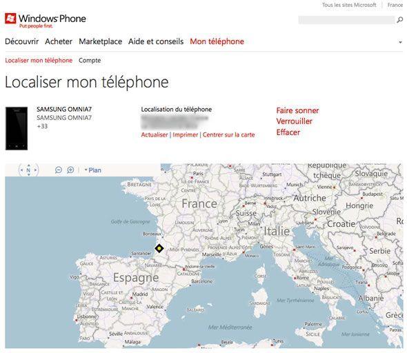 Capture d'écran - Localisation du téléphone à l'aide de Bing Maps, WindowsPhone.com