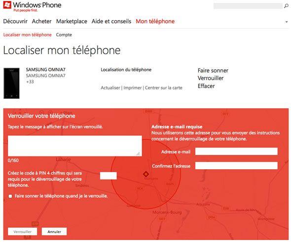 Capture d'écran - Verrouillage du téléphone à distance, WindowsPhone.com