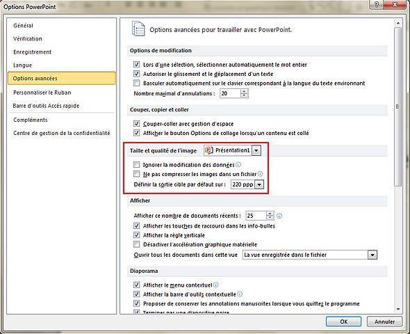 Capture d'écran - Onglet Options avancées de PowerPoint 2010