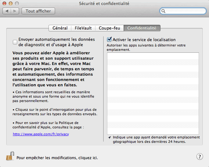 Capture d'écran - Options de confidentialité de MacOS X Lion