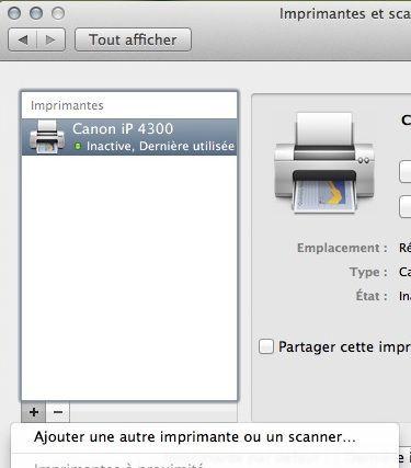 Capture d'écran - Ajout d'une imprimante sous MacOS X