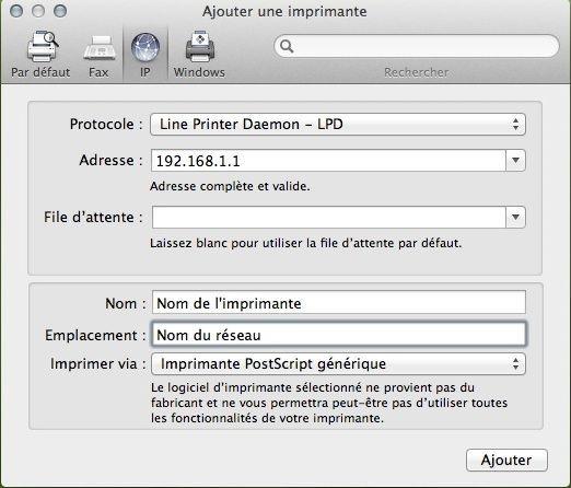 Capture d'écran - Saisie de l'adresse IP de l'imprimante