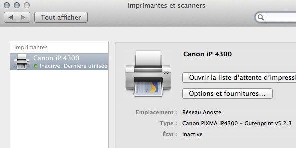 Capture d'écran - Imprimante Canon iP 4300 sous MacOS X Lion