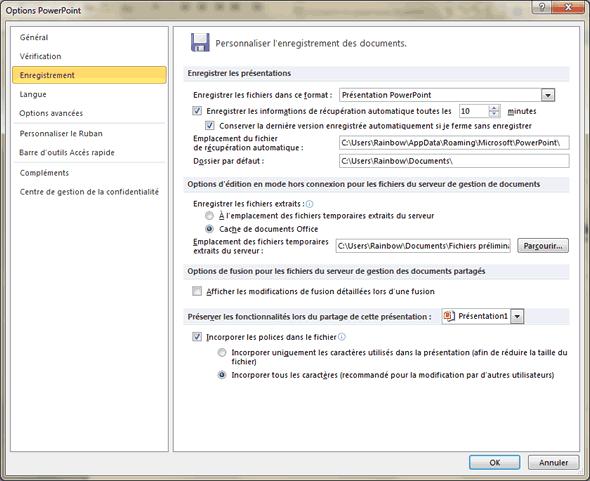 Capture d'écran - Onglet Enregistrement des options de PowerPoint 2010