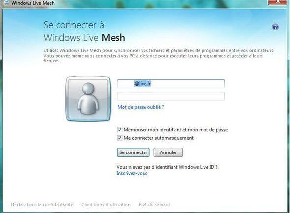 Capture d'écran - Windows Live Mesh, connexion au compte Live