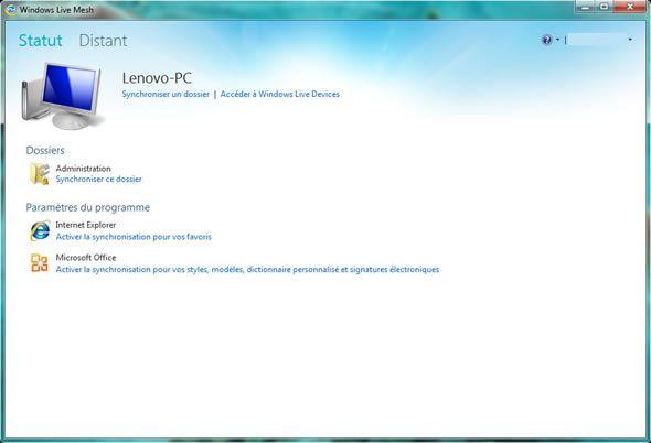 Capture d'écran - Synchroniser un dossier avec Windows Live Mesh