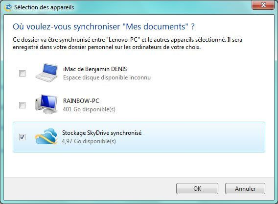 Capture d'écran - Windows Live Mesh, sélection des emplacements