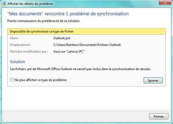 Capture d'écran - Exemple de problème de synchronisation dans Live Mesh