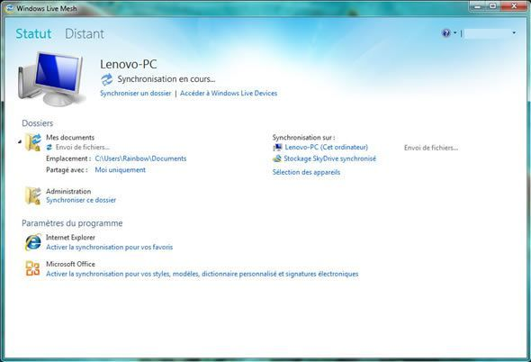 Capture d'écran - Windows Live Mesh, paramètres du programme