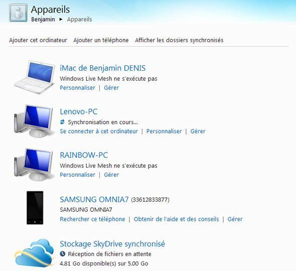 Capture d'écran - Windows Live Mesh, gestion des appareils