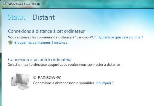 Capture d'écran - Windows Live Mesh, connexions à distantes