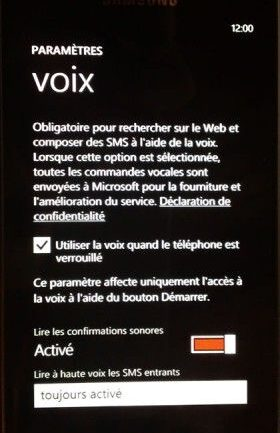 Capture d'écran - Options Voix de Windows Phone 7.5