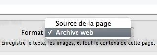 Capture d'écran - Enregistrement de l'archive web sous Safari