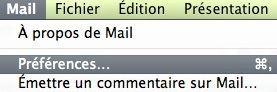 Capture d'écran - Préférences du client Apple Mail