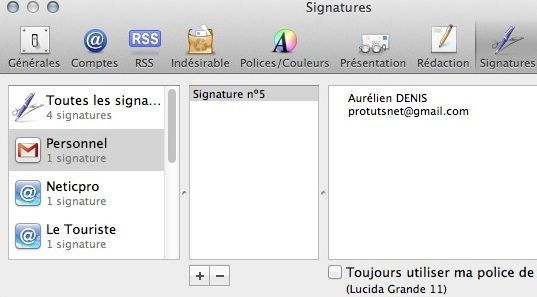 Capture d'écran - Signatures sous Apple Mail