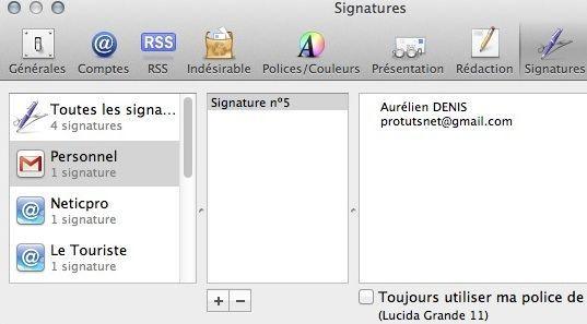 Capture d'écran - Signatures sous Apple Mail