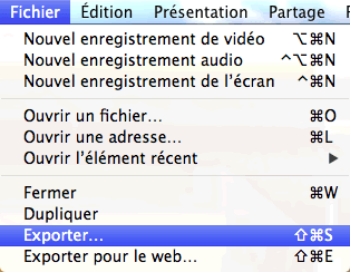Capture d'écran - Menu QuickTime, MacOS X Lion