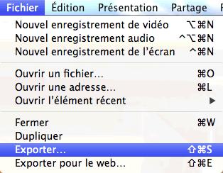 Capture d'écran - Menu QuickTime, MacOS X Lion