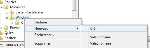 Capture d'écran - Création d'une clé dans l'Editeur du Registre