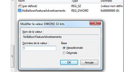 Capture d'écran - Ajout d'une valeur DWORD