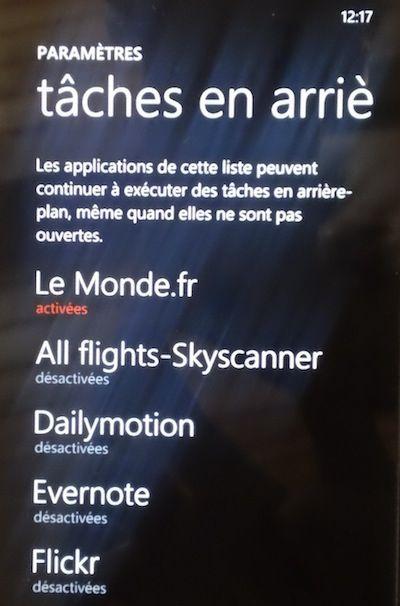 Capture d'écran - Liste des tâches en arrière-plan sous Windows Phone 7