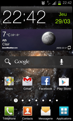 Android 4.0.3 Samsung Galaxy S2 - Accueil
