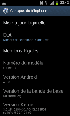 Android 4.0.3 Samsung Galaxy S2 - Système