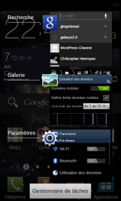 Android 4.0.3 Samsung Galaxy S2 - Gestionnaire de taches