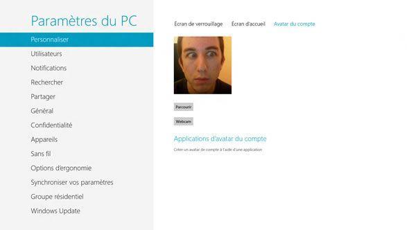 Capture d'écran - Paramètres de l'Avatar du compte de Windows 8