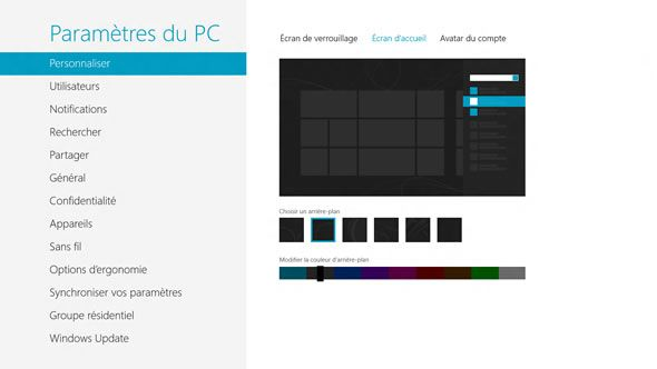 Capture d'écran - Paramètres de l'écran d'accueil (start screen) de Windows 8